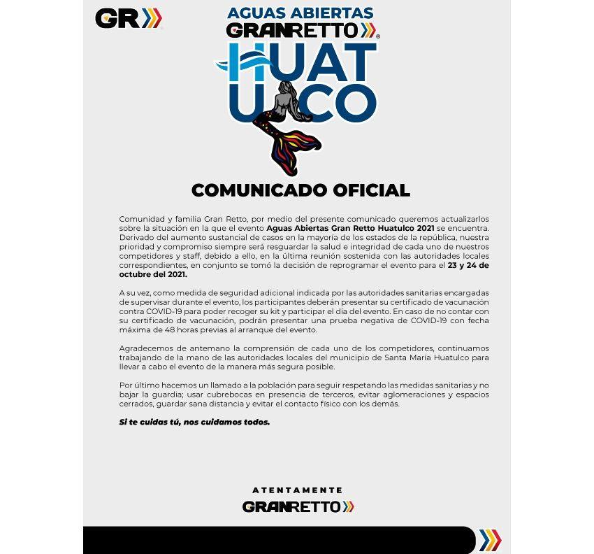 TRAVESÍA DE AGUAS ABIERTAS GRAN RETTO HUATULCO 2021 Información General